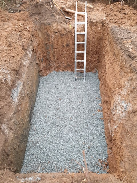 preparation of the area for Tricel treatment tank